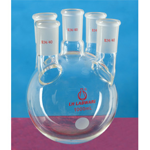 2000mL Straight Five-Neck Round Bottom Flask (Thick Wall) Thick Glass Tube Manual Mold Blowing LH-11-W-623, Intermediate Grinding Mouth: 24, Edge: 24×2/19×2, LH Labware