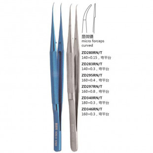 Micro Forceps Curved, Platform, Round Handle, Microscopic Flaw, Material: 2Cr13, Surface: Matt, Application: Micro Surgery, Shinva Surgical