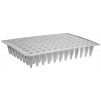 96-well Polypropylene Flat Top PCR Microplate, Low Profile, No Skirt, Clear, Nonsterile, 5*5 blocks/box