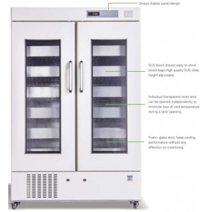 Blood Bank Refrigerator (Double Door) Forced Air Cooling 1008L, 576 pcs, 450ml Blood Bags