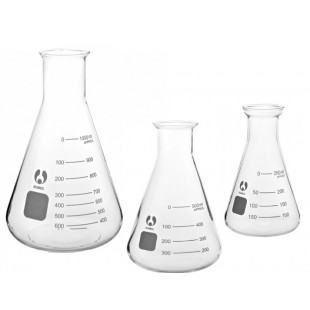 Conical Flask 100 mL, Narrow Mouth Flared Rim with Graduation, Borosilicate Glass, Bomex