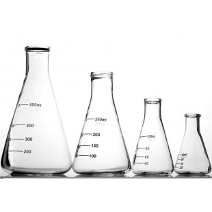 Conical Flask, 100 mL, Narrow Mouth with Rims Borosilicate OD64, H105mm, Neck OD23, 10pcs/pack