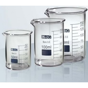Beaker 10 mL, Low Form with Graduation and Spout, Borosilicate Glass, 10pcs/pack